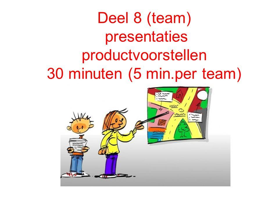 Deel 8 (team) presentaties productvoorstellen 30 minuten (5 min.per team) Presentatie productvoorstellen