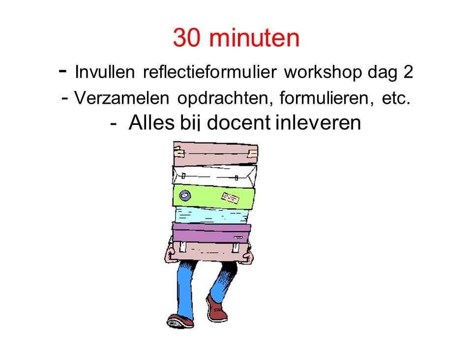 30 minuten - Invullen reflectieformulier workshop dag 2 - Verzamelen opdrachten, formulieren, etc. - Alles bij docent inleveren