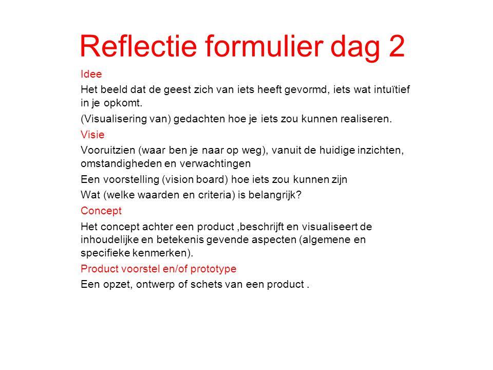 Reflectie formulier dag 2 Idee Het beeld dat de geest zich van iets heeft gevormd, iets wat intuïtief in je opkomt. (Visualisering van) gedachten hoe