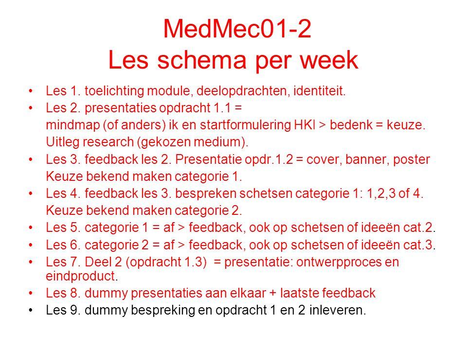 MedMec01-2 Les schema per week Les 1. toelichting module, deelopdrachten, identiteit.
