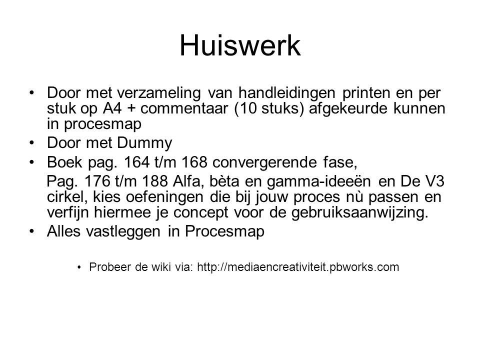 Huiswerk Door met verzameling van handleidingen printen en per stuk op A4 + commentaar (10 stuks) afgekeurde kunnen in procesmap Door met Dummy Boek p