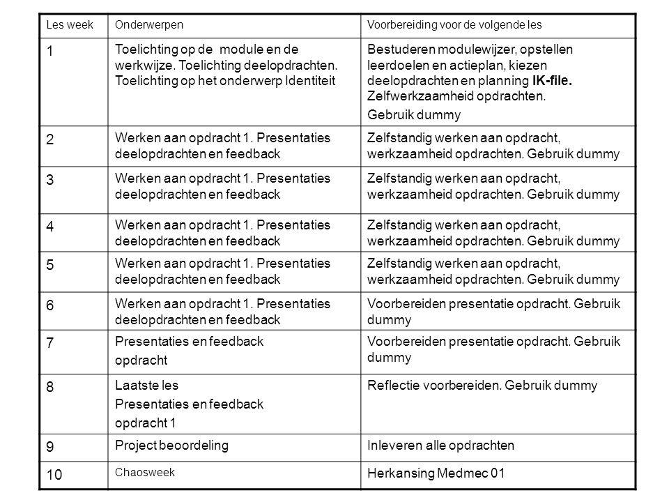 Les weekOnderwerpenVoorbereiding voor de volgende les 1 Toelichting op de module en de werkwijze.