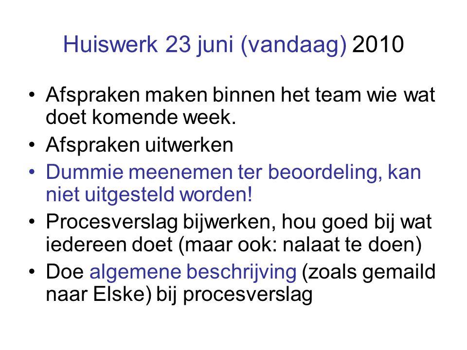 Huiswerk 23 juni (vandaag) 2010 Afspraken maken binnen het team wie wat doet komende week.