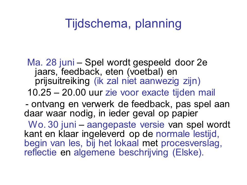 Tijdschema, planning Ma. 28 juni – Spel wordt gespeeld door 2e jaars, feedback, eten (voetbal) en prijsuitreiking (ik zal niet aanwezig zijn) 10.25 –