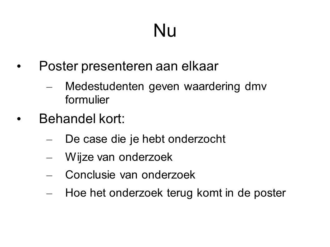 Nu Poster presenteren aan elkaar – Medestudenten geven waardering dmv formulier Behandel kort: – De case die je hebt onderzocht – Wijze van onderzoek – Conclusie van onderzoek – Hoe het onderzoek terug komt in de poster