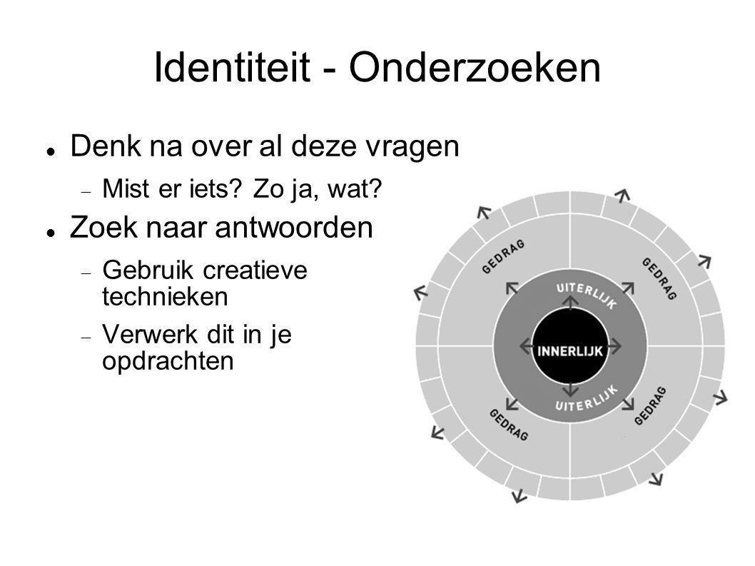 Identiteit - Onderzoeken Denk na over al deze vragen  Mist er iets? Zo ja, wat? Zoek naar antwoorden  Gebruik creatieve technieken  Verwerk dit in