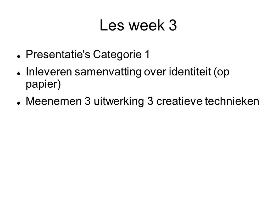 Les week 3 Presentatie's Categorie 1 Inleveren samenvatting over identiteit (op papier) Meenemen 3 uitwerking 3 creatieve technieken