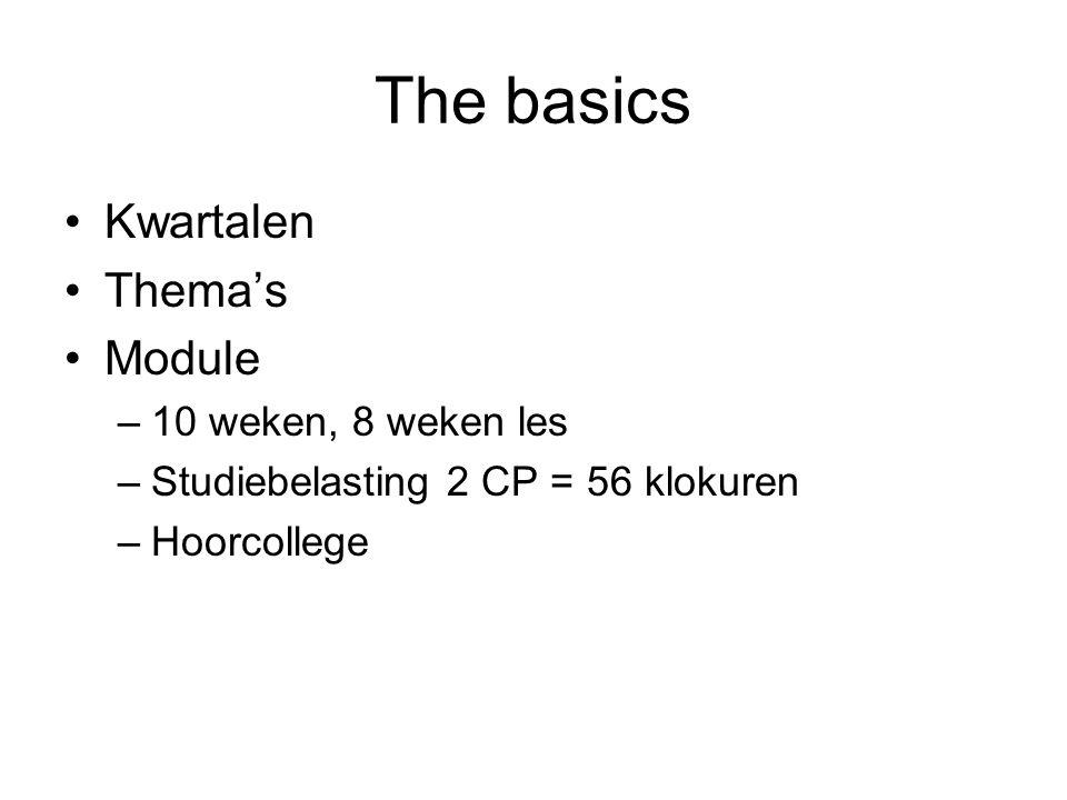 The basics Kwartalen Thema's Module –10 weken, 8 weken les –Studiebelasting 2 CP = 56 klokuren –Hoorcollege