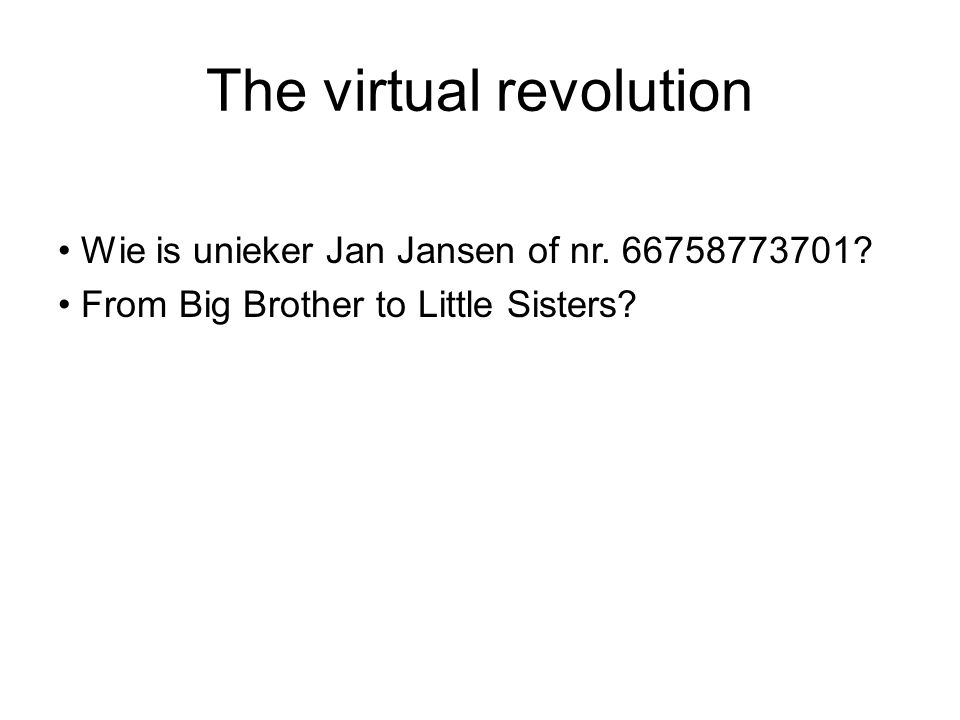 The virtual revolution Wie is unieker Jan Jansen of nr.