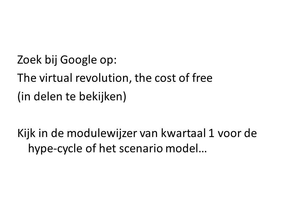 Zoek bij Google op: The virtual revolution, the cost of free (in delen te bekijken) Kijk in de modulewijzer van kwartaal 1 voor de hype-cycle of het scenario model…