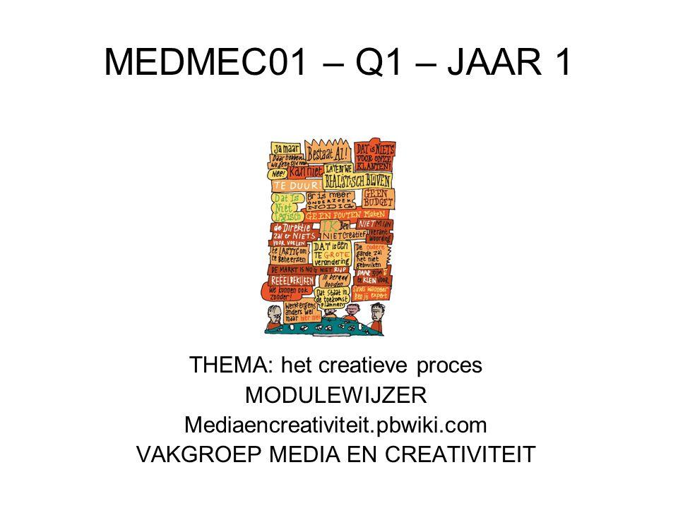 MEDMEC01 – Q1 – JAAR 1 THEMA: het creatieve proces MODULEWIJZER Mediaencreativiteit.pbwiki.com VAKGROEP MEDIA EN CREATIVITEIT