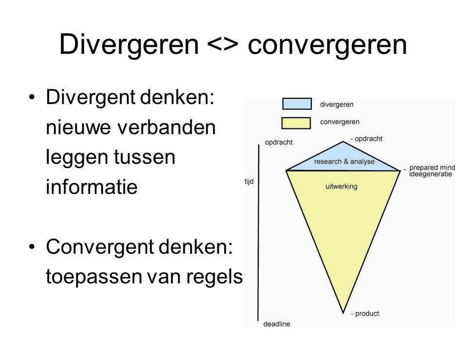 Divergeren <> convergeren Divergent denken: nieuwe verbanden leggen tussen informatie Convergent denken: toepassen van regels
