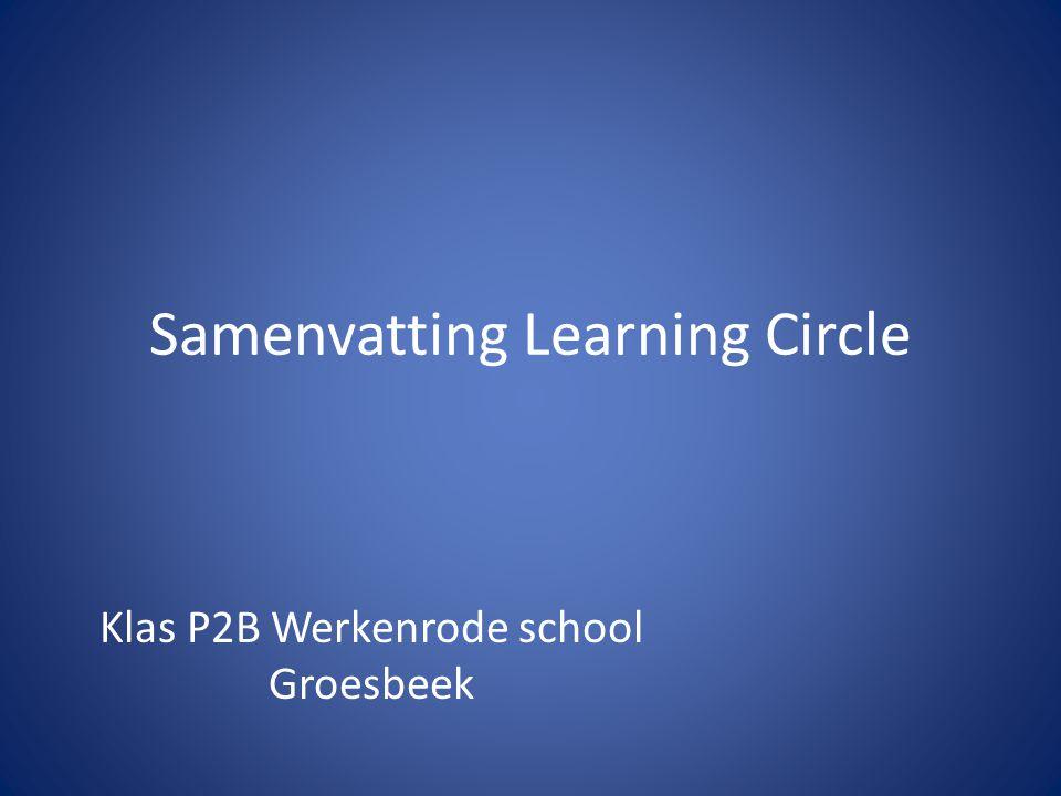 Samenvatting Learning Circle Klas P2B Werkenrode school Groesbeek