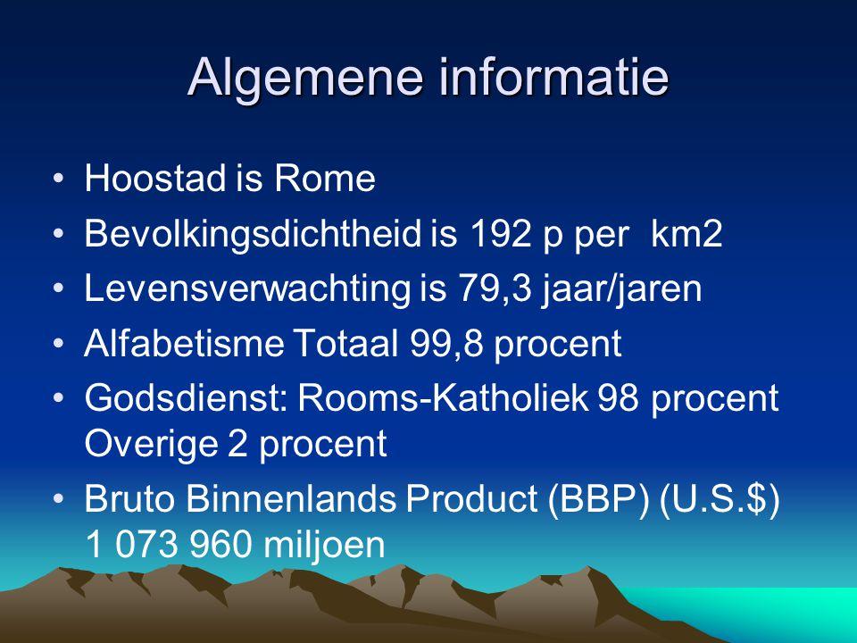 Algemene informatie Hoostad is Rome Bevolkingsdichtheid is 192 p per km2 Levensverwachting is 79,3 jaar/jaren Alfabetisme Totaal 99,8 procent Godsdien
