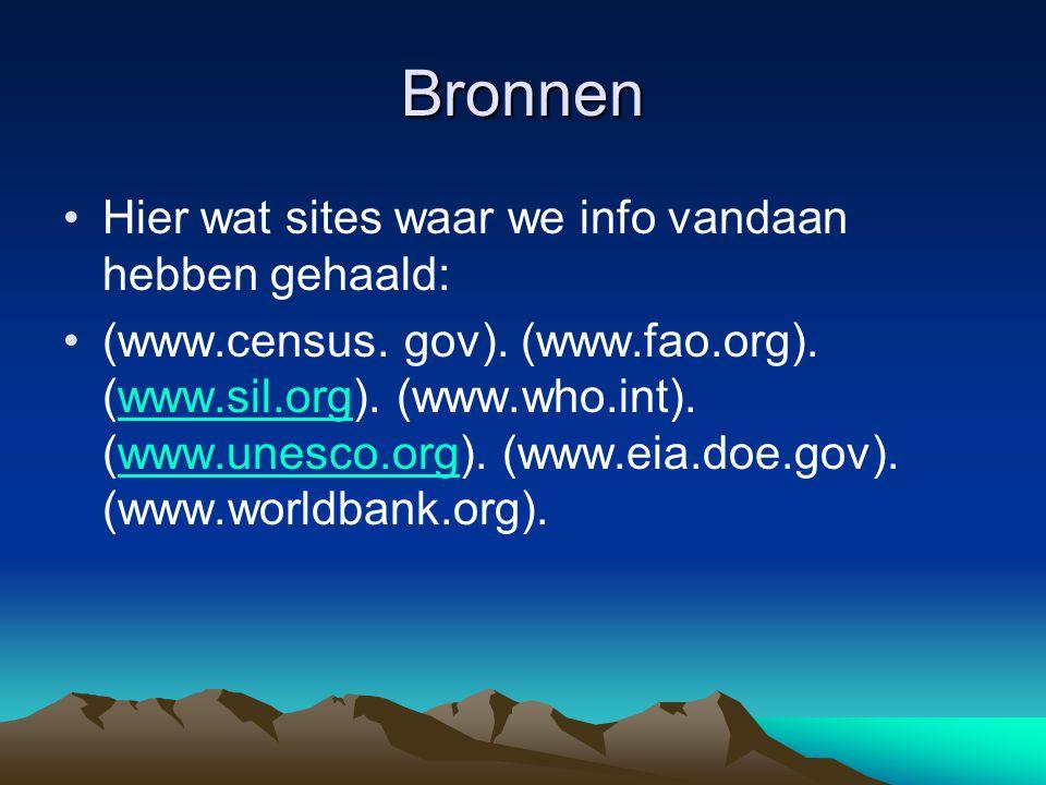 Bronnen Hier wat sites waar we info vandaan hebben gehaald: (www.census. gov). (www.fao.org). (www.sil.org). (www.who.int). (www.unesco.org). (www.eia