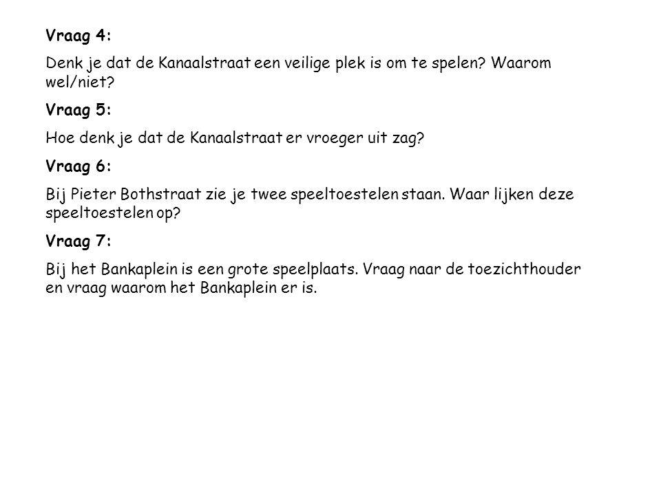Vraag 4: Denk je dat de Kanaalstraat een veilige plek is om te spelen.