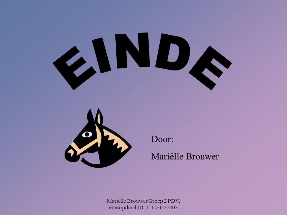 Marielle Brouwer Groep 2 PDV, eindopdracht ICT, 14-12-2003 Door: Mariëlle Brouwer