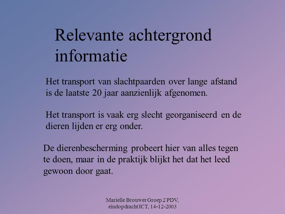 Marielle Brouwer Groep 2 PDV, eindopdracht ICT, 14-12-2003 Relevante achtergrond informatie Het transport van slachtpaarden over lange afstand is de laatste 20 jaar aanzienlijk afgenomen.