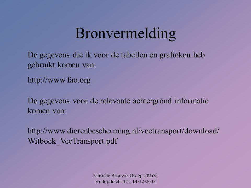 Marielle Brouwer Groep 2 PDV, eindopdracht ICT, 14-12-2003 Bronvermelding De gegevens die ik voor de tabellen en grafieken heb gebruikt komen van: http://www.fao.org De gegevens voor de relevante achtergrond informatie komen van: http://www.dierenbescherming.nl/veetransport/download/ Witboek_VeeTransport.pdf