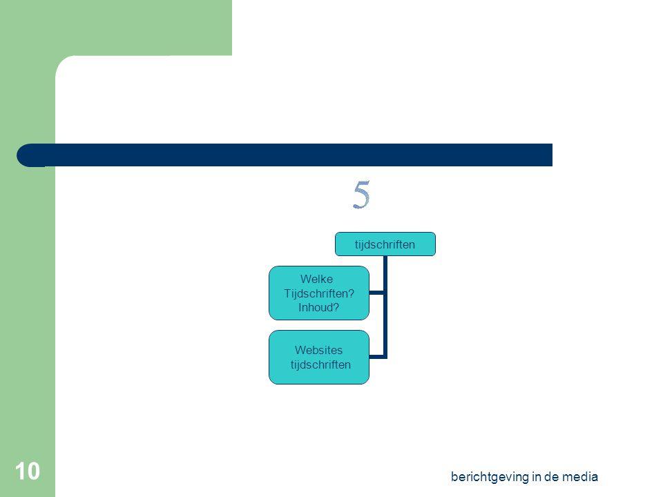 berichtgeving in de media 9 krant Analyse: opdracht redactie krantenwebsites Oefening S-O* groepsopdracht *O=objectief en S=subjectief