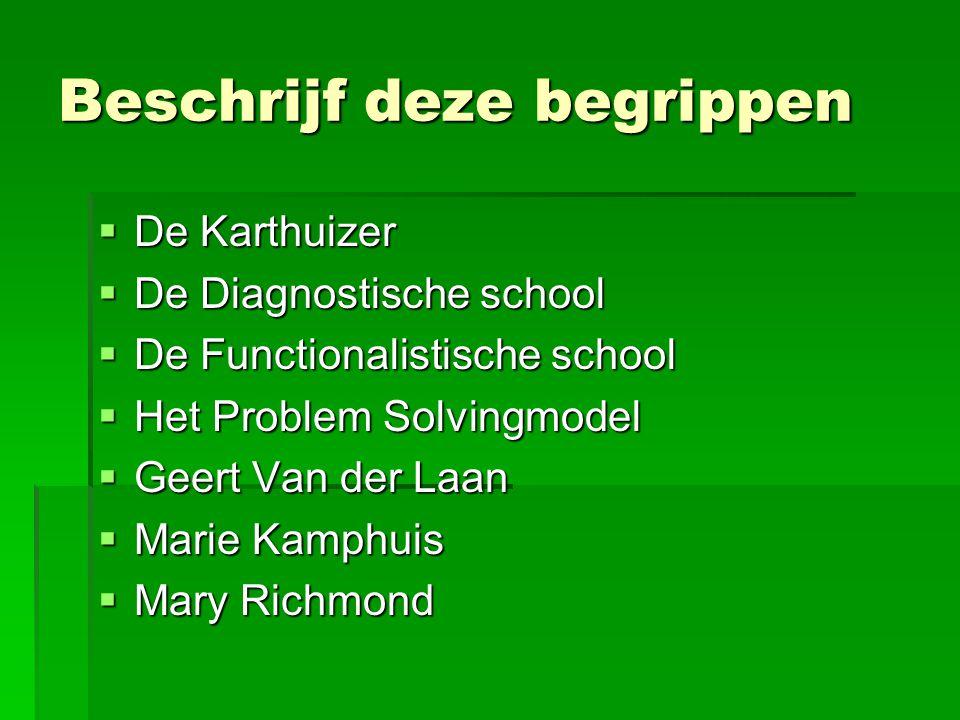 Beschrijf deze begrippen  De Karthuizer  De Diagnostische school  De Functionalistische school  Het Problem Solvingmodel  Geert Van der Laan  Marie Kamphuis  Mary Richmond