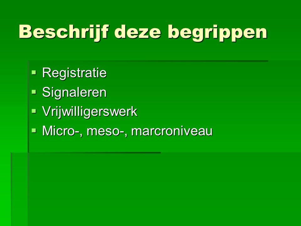 Beschrijf deze begrippen  Registratie  Signaleren  Vrijwilligerswerk  Micro-, meso-, marcroniveau