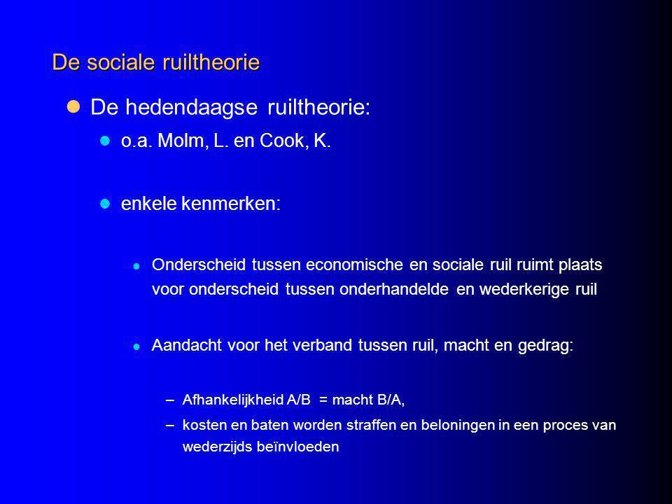 De sociale ruiltheorie De hedendaagse ruiltheorie: o.a.