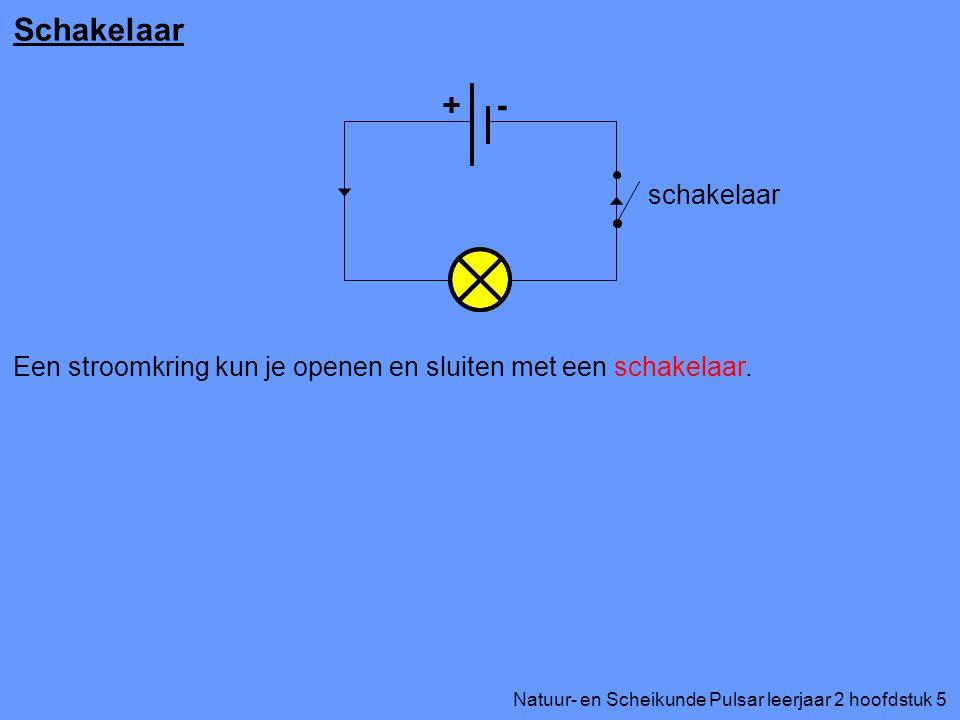 Natuur- en Scheikunde Pulsar leerjaar 2 hoofdstuk 5 Schakelaar + - schakelaar Een stroomkring kun je openen en sluiten met een schakelaar.