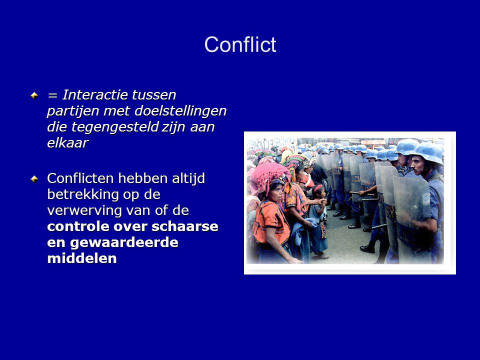 Conflict = Interactie tussen partijen met doelstellingen die tegengesteld zijn aan elkaar Conflicten hebben altijd betrekking op de verwerving van of de controle over schaarse en gewaardeerde middelen