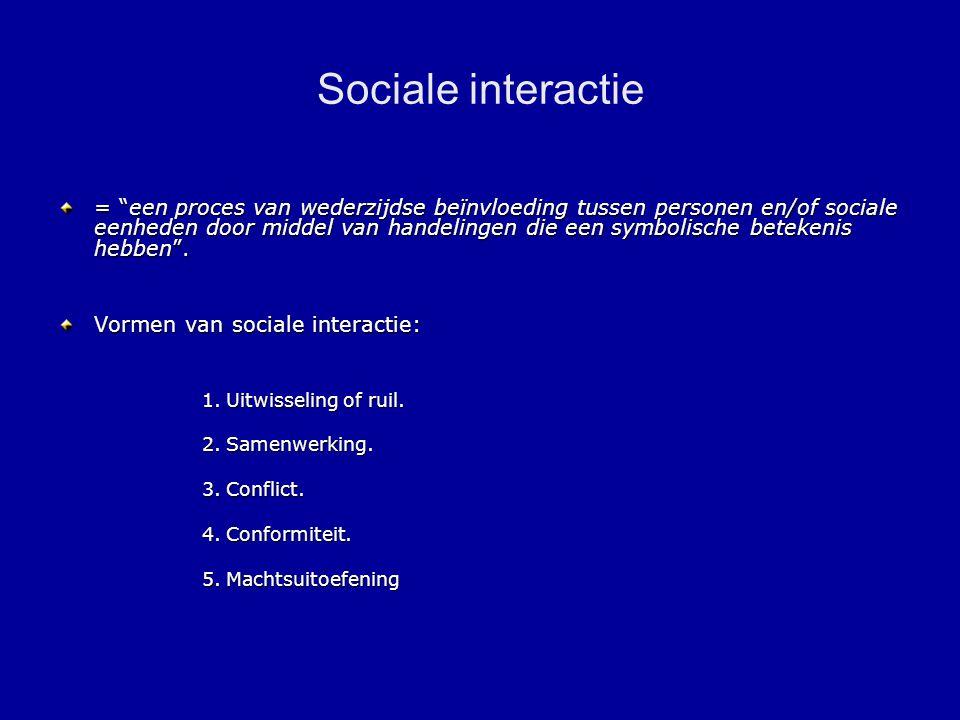 Sociale interactie = een proces van wederzijdse beïnvloeding tussen personen en/of sociale eenheden door middel van handelingen die een symbolische betekenis hebben .