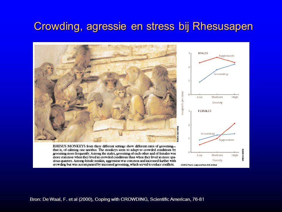 Crowding, agressie en stress bij Rhesusapen Bron: De Waal, F.