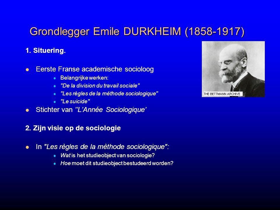 Grondlegger Emile DURKHEIM (1858-1917) 1.Situering.