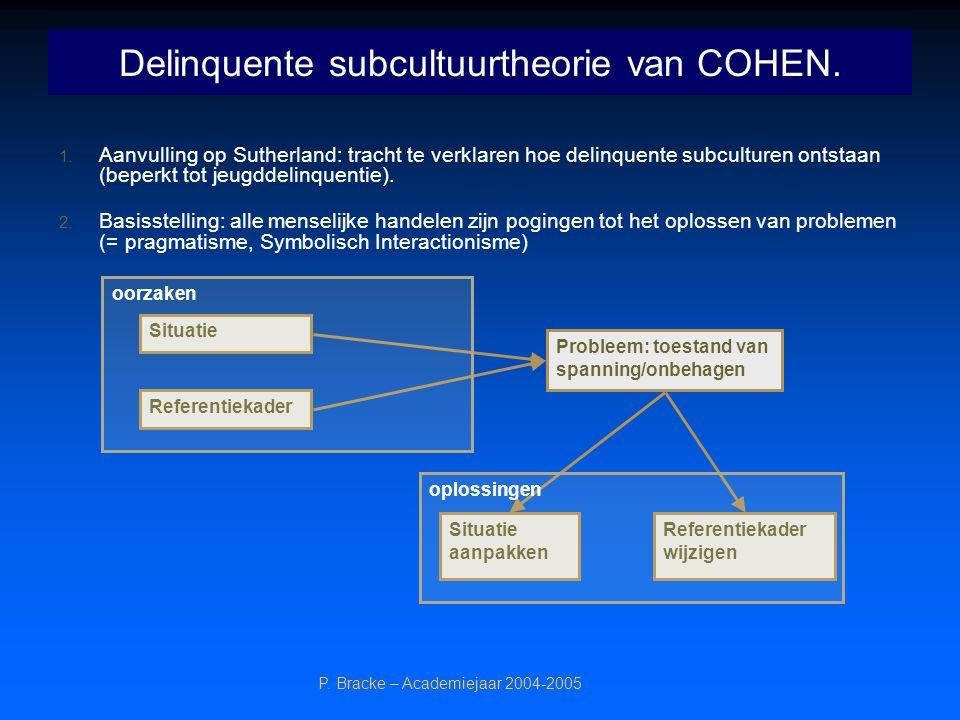 P. Bracke – Academiejaar 2004-2005 Delinquente subcultuurtheorie van COHEN. 1. Aanvulling op Sutherland: tracht te verklaren hoe delinquente subcultur