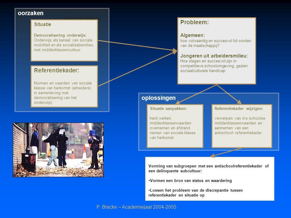 P. Bracke – Academiejaar 2004-2005 Onderwijs als kanaal van Situatie Democratisering onderwijs: Onderwijs als kanaal van sociale mobiliteit en als soc