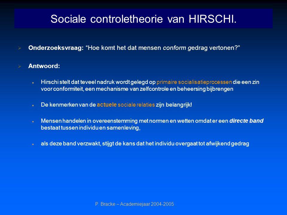 """P. Bracke – Academiejaar 2004-2005 Sociale controletheorie van HIRSCHI.  Onderzoeksvraag: """"Hoe komt het dat mensen conform gedrag vertonen?""""  Antwoo"""