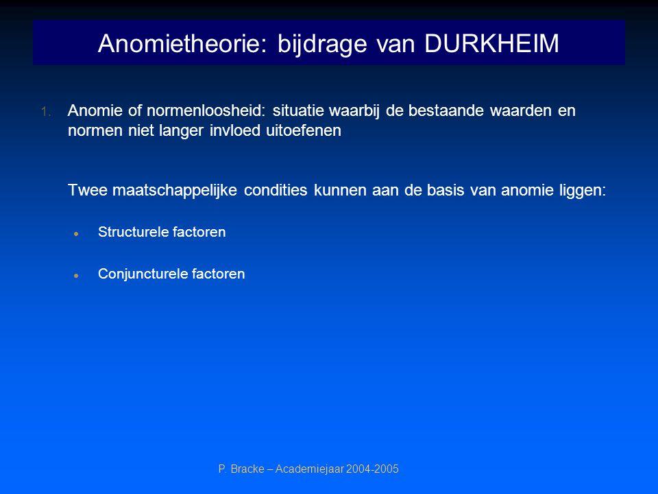 P. Bracke – Academiejaar 2004-2005 Anomietheorie: bijdrage van DURKHEIM 1. Anomie of normenloosheid: situatie waarbij de bestaande waarden en normen n
