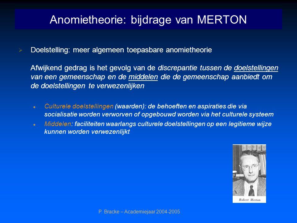 P. Bracke – Academiejaar 2004-2005 Anomietheorie: bijdrage van MERTON  Doelstelling: meer algemeen toepasbare anomietheorie Afwijkend gedrag is het g