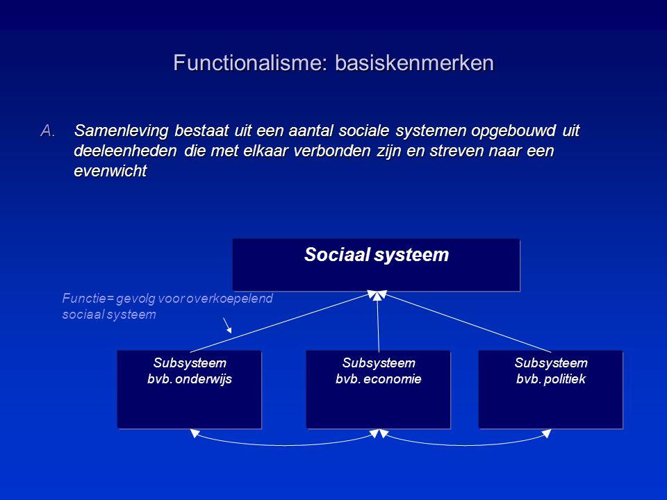 Functionalisme: basiskenmerken Functie= gevolg voor overkoepelend sociaal systeem Sociaal systeem Subsysteem bvb.