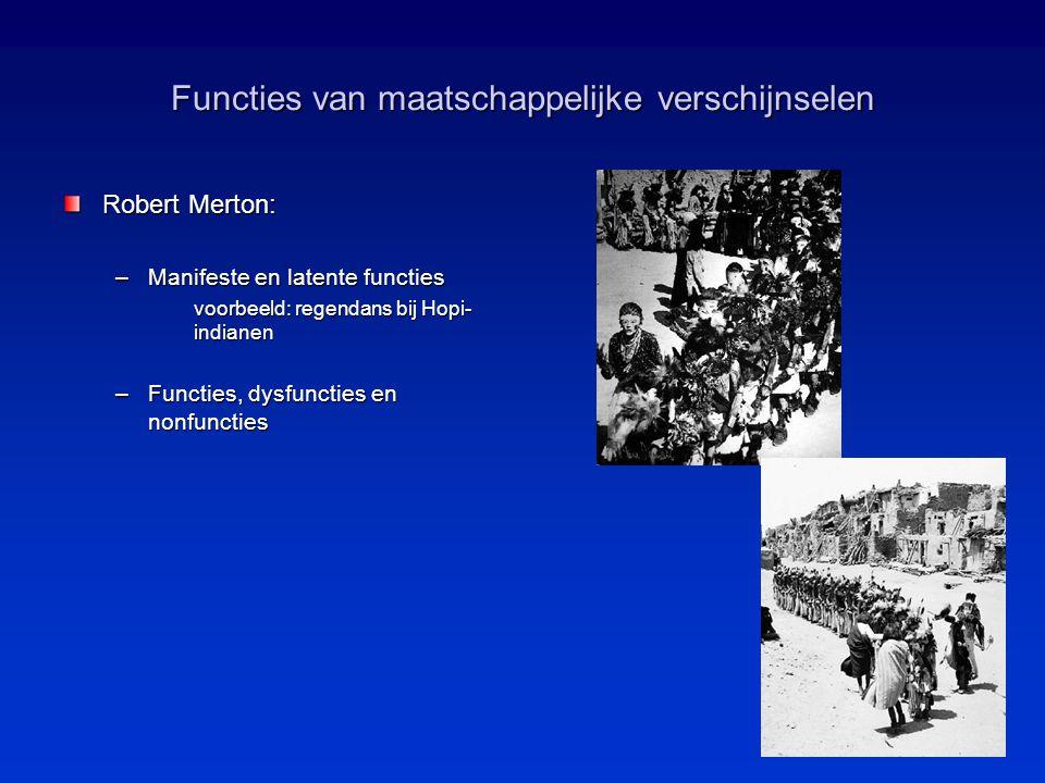 Functies van maatschappelijke verschijnselen Robert Merton: –Manifeste en latente functies voorbeeld: regendans bij Hopi- indianen –Functies, dysfunct