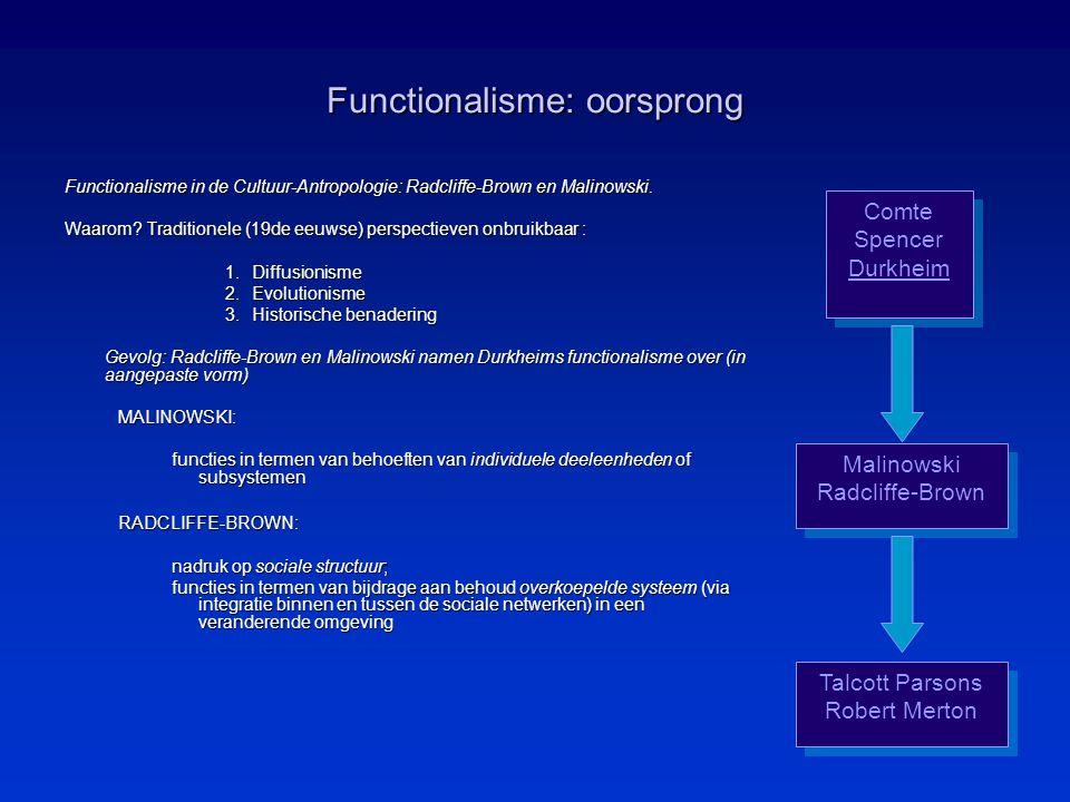 Functionalisme: oorsprong Functionalisme in de Cultuur-Antropologie: Radcliffe-Brown en Malinowski.