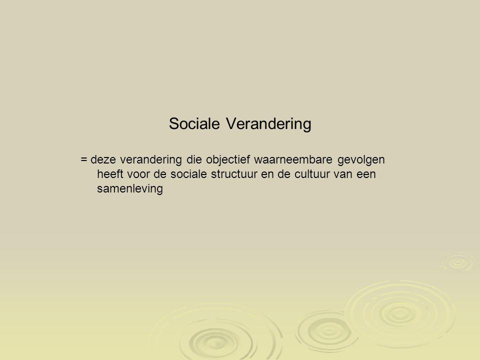 Sociale Verandering = deze verandering die objectief waarneembare gevolgen heeft voor de sociale structuur en de cultuur van een samenleving