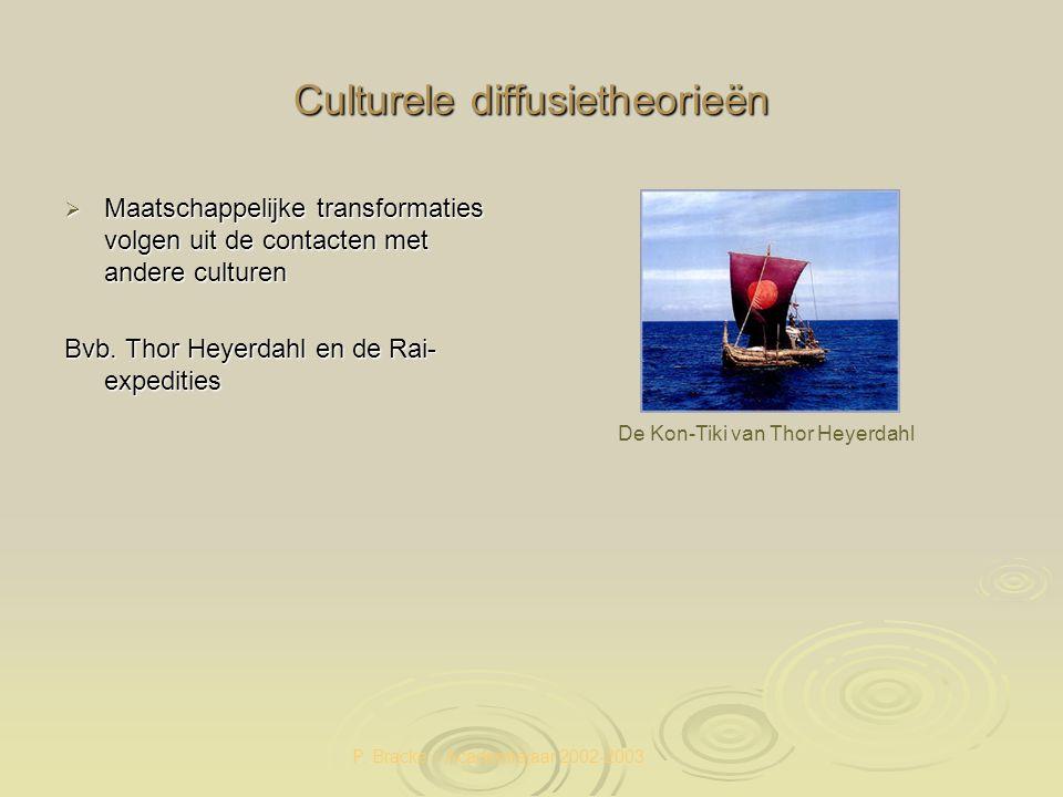 P. Bracke – Academiejaar 2002-2003 Culturele diffusietheorieën  Maatschappelijke transformaties volgen uit de contacten met andere culturen Bvb. Thor