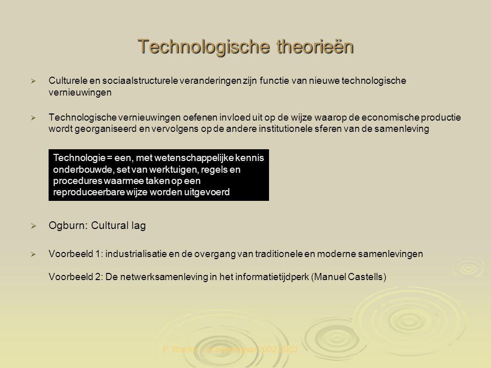 P. Bracke – Academiejaar 2002-2003 Technologische theorieën   Culturele en sociaalstructurele veranderingen zijn functie van nieuwe technologische v