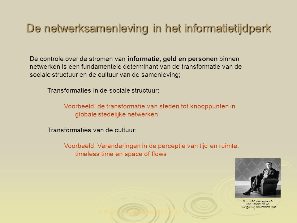 P. Bracke – Academiejaar 2002-2003 De netwerksamenleving in het informatietijdperk Bron: NRC Webpagina's © NRC HANDELSBLAD (web@nrc.nl) NOVEMBER 1997