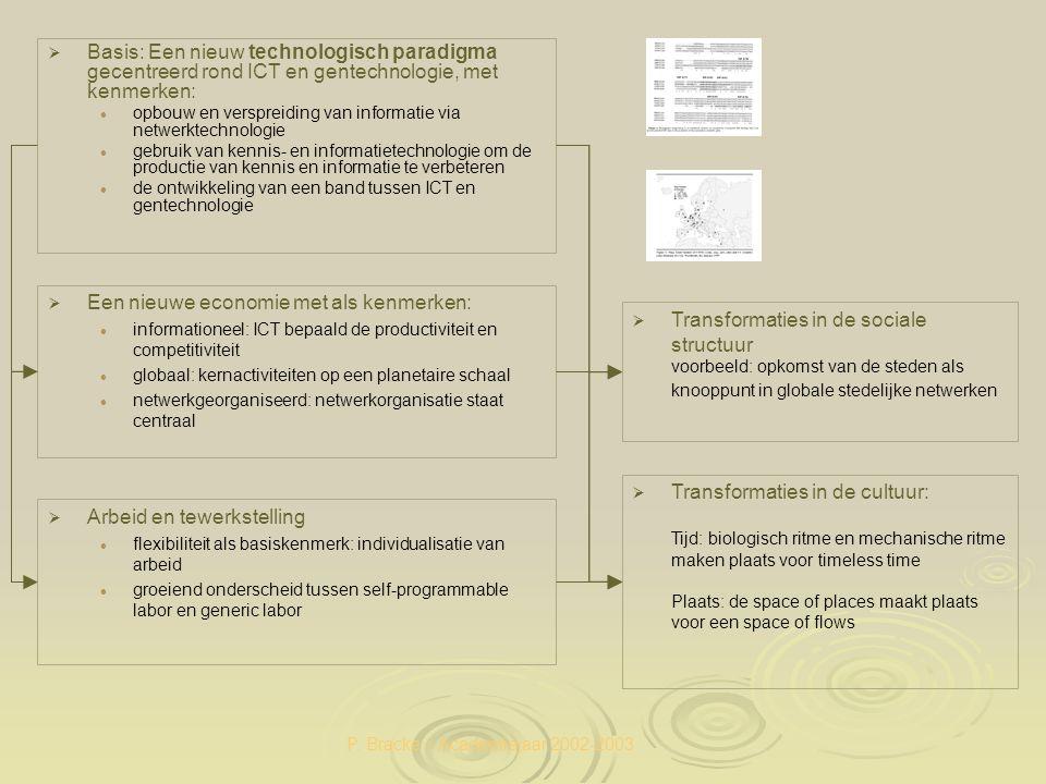 P. Bracke – Academiejaar 2002-2003   Basis: Een nieuw technologisch paradigma gecentreerd rond ICT en gentechnologie, met kenmerken: opbouw en versp