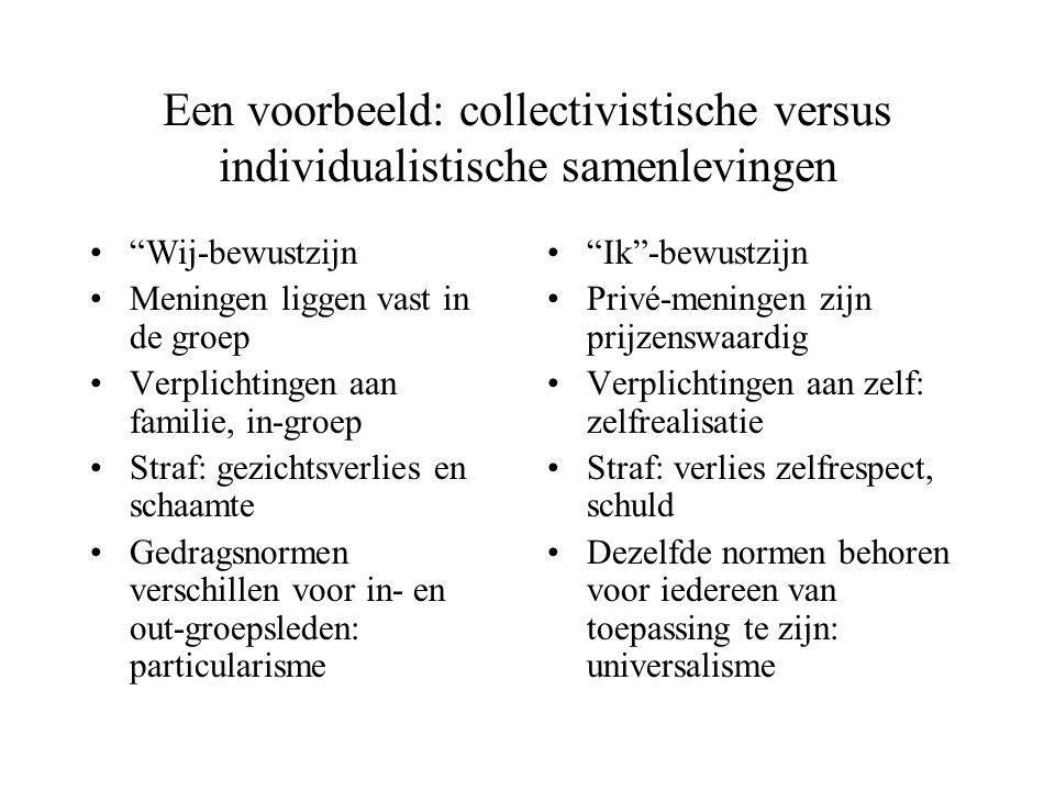 """Een voorbeeld: collectivistische versus individualistische samenlevingen """"Wij-bewustzijn Meningen liggen vast in de groep Verplichtingen aan familie,"""