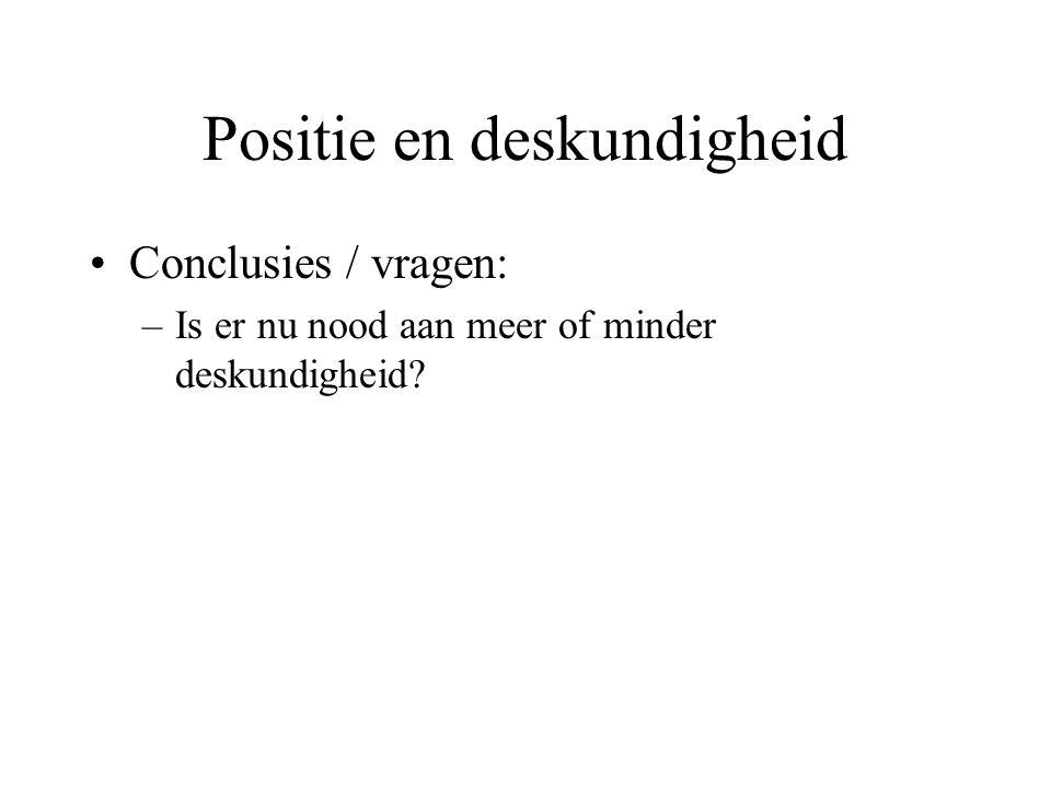 Positie en deskundigheid Conclusies / vragen: –Is er nu nood aan meer of minder deskundigheid?