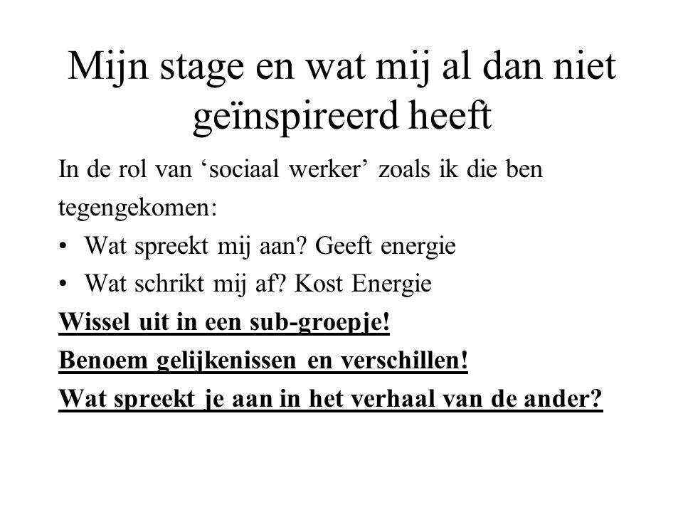 Mijn stage en wat mij al dan niet geïnspireerd heeft In de rol van 'sociaal werker' zoals ik die ben tegengekomen: Wat spreekt mij aan? Geeft energie