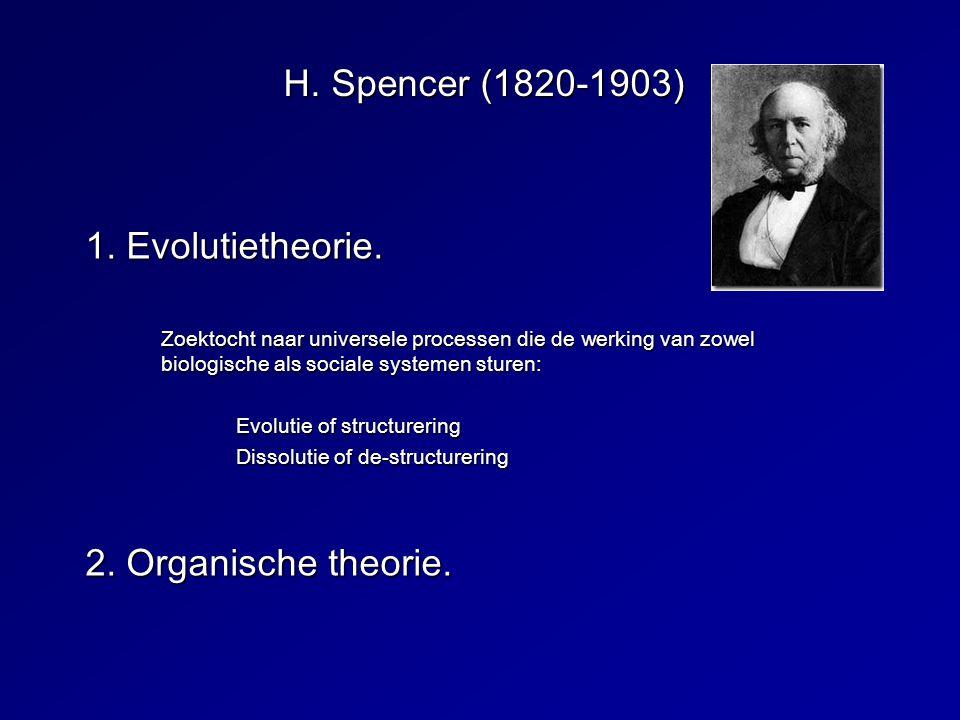 H. Spencer (1820-1903) 1. Evolutietheorie. Zoektocht naar universele processen die de werking van zowel biologische als sociale systemen sturen: Evolu