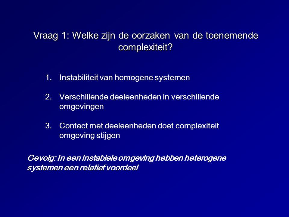 Vraag 1: Welke zijn de oorzaken van de toenemende complexiteit? 1.Instabiliteit van homogene systemen 2.Verschillende deeleenheden in verschillende om